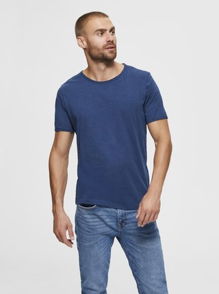 Modré basic tričko Selected Homme Morgan