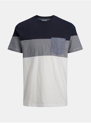 Bílo-modré tričko Jack & Jones Contrast
