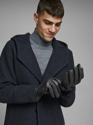 Čierne kožené rukavice Jack & Jones Montana