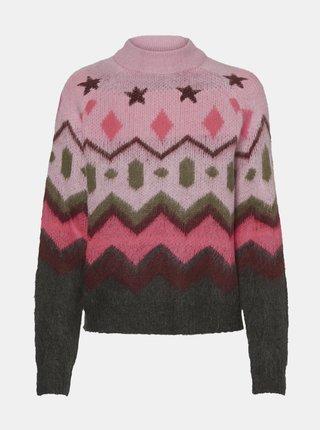 Ružový vzorovaný sveter Noisy May Luke