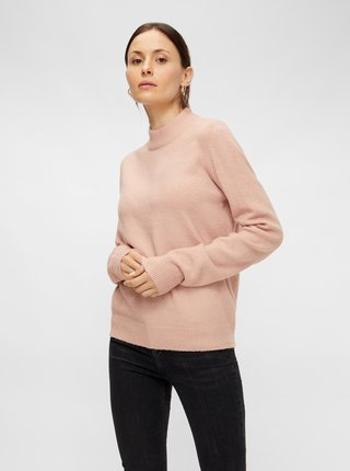 Růžový basic svetr Pieces Bianca