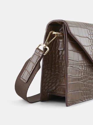Hnědá kabelka s krokodýlím vzorem Pieces Symfoni
