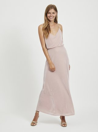 Růžové třpytivé maxišaty VILA Lanio