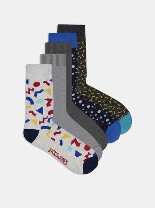 Sada pěti párů ponožek v šedé barvě Jack & Jones Pops