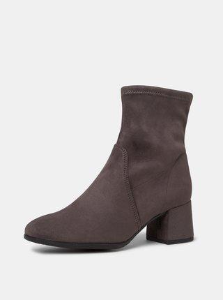 Šedé dámske členkové topánky v semišovej úprave Tamaris
