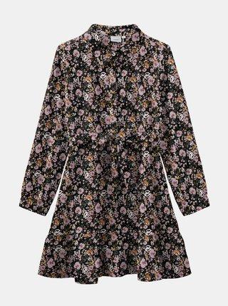 Ružovo-čierne kvetované dievčenské šaty name it Vinaya