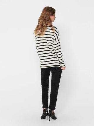 Černo-bílý pruhovaný basic svetr ONLY Mayea