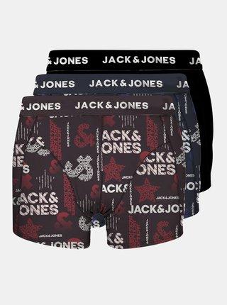 Sada troch vzorovaných boxeriek v čiernej, modrej a vínovej farbe Jack & Jones Logo