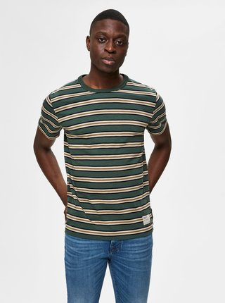 Zelené pruhované tričko Selected Homme Carl