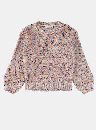 Růžovo-krémový holčičí žíhaný svetr name it Naura