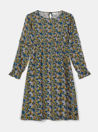 Žlto-modré dievčenské kvetované šaty name it Nolah