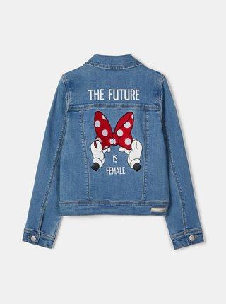 Modrá dievčensá rifľová bunda s potlačou na chrbte name it Minnie