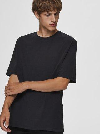 Černé volné basic tričko Selected Homme Malcolm