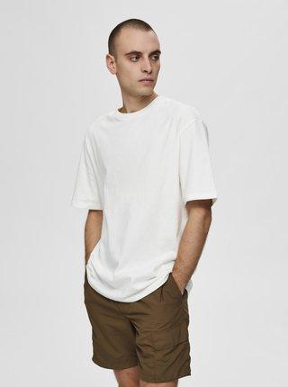 Bílé volné basic tričko Selected Homme Malcolm