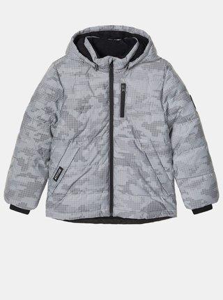 Šedá chlapčenská vzorovaná zimná bunda name it Monsson