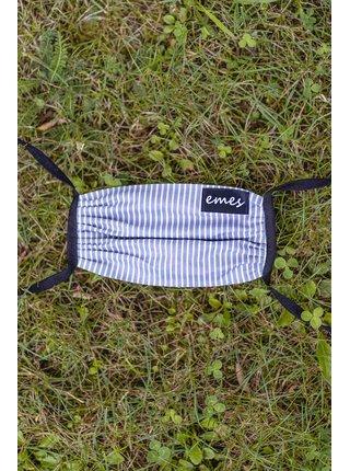 Emesa šedo-biela pruhovaná rúško s kapsičkou