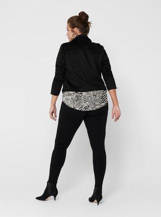 Čierna koženková bunda v semišovej úprave ONLY CARMAKOMA Sherry