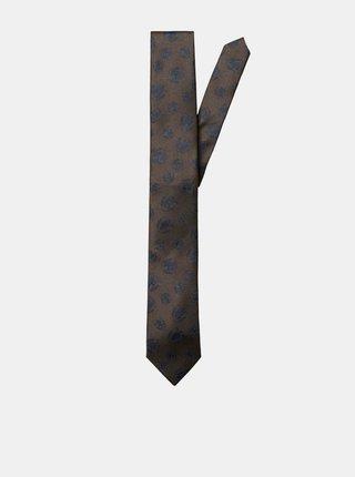 Hnedá vzorovaná kravata Selected Homme Morten