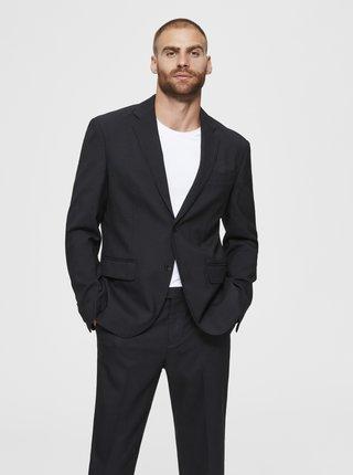 Čierne sako s prímesou vlny Selected Homme Stock