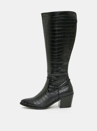 Čierne čižmy s hadím vzorom VERO MODA