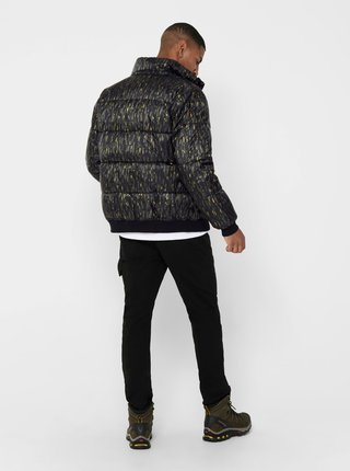 Čierna vzorovaná prešívaná bunda ONLY & SONS Sand