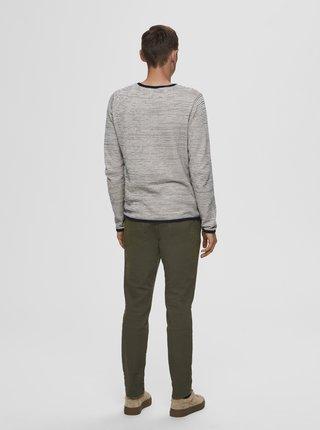 Krémový pruhovaný sveter Selected Homme Dean