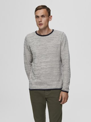 Krémový pruhovaný svetr Selected Homme Dean