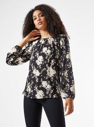 Čierna kvetovaná voľná blúzka Billie & Blossom