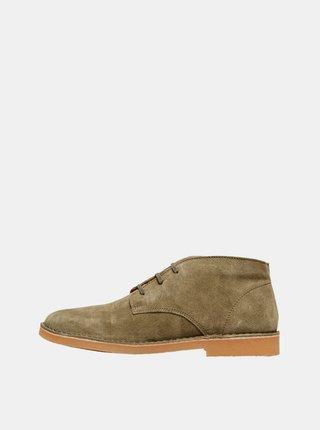 Kaki semišové členkové topánky Selected Homme Royce