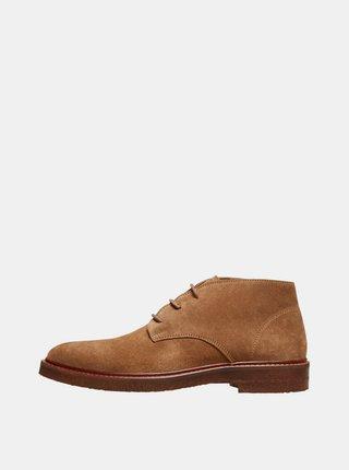 Hnědé semišové kotníkové boty Selected Homme Luke