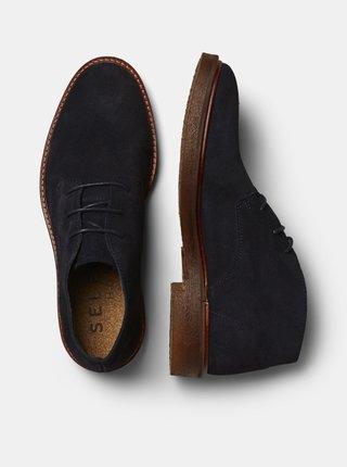 Tmavě modré semišové kotníkové boty Selected Homme Luke