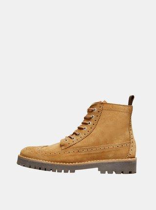 Hnědé semišové kotníkové boty Selected Homme Ricky