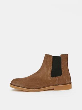 Hnědé semišové chelsea boty Selected Homme Royce