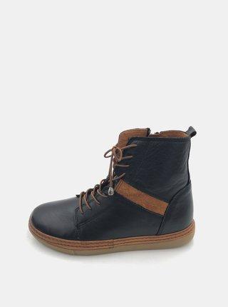 Černé dámské kožené zimní boty WILD