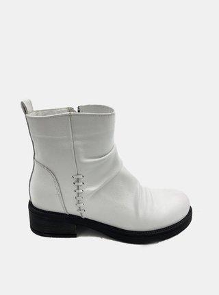 Biele dámske kožené členkové topánky WILD