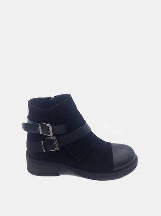 Čierne dámske semišové členkové topánky WILD