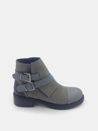 Šedé dámske semišové členkové topánky WILD