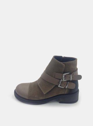 Hnědé dámské semišové kotníkové boty WILD