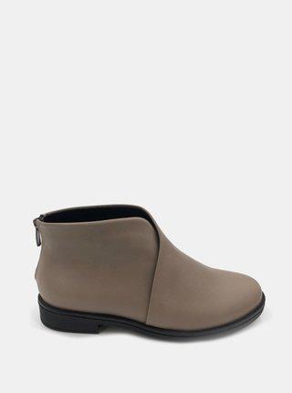 Béžové dámske kožené členkové topánky WILD
