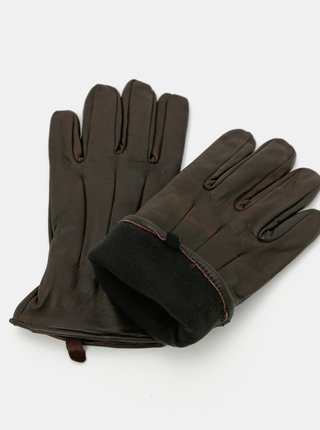 Tmavohnedé kožené rukavice Jack & Jones Montana