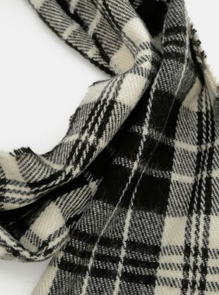 Bielo-čierny kockovaný šál s prímesou vlny ONLY & SONS Case