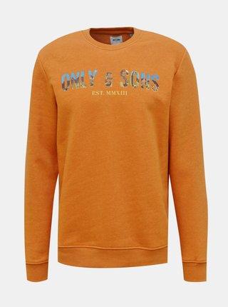 Oranžová mikina ONLY & SONS Mat