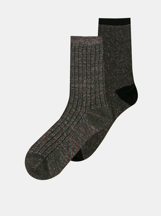 Sada dvoch párov tmavošedých vzorovaných ponožiek ONLY Coffee