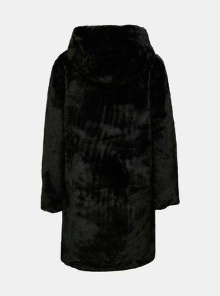 Černý zimní kabát z umělého kožíšku Jacqueline de Yong Tit