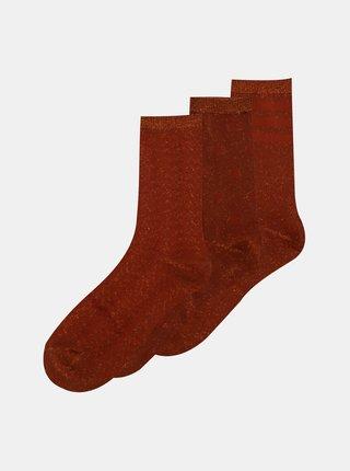 Sada troch párov hnedých ponožiek ONLY Abarna