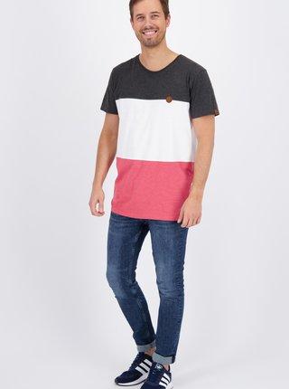 Růžovo-bílé pánské tričko Alife and Kickin