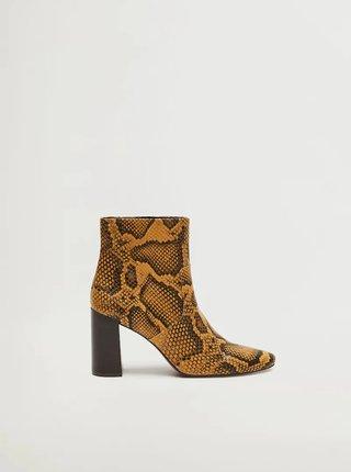 Hnědé kotníkové boty s hadím vzorem Mango Caleo