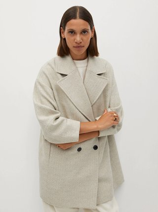 Krémový vlněný kabát Mango Willy