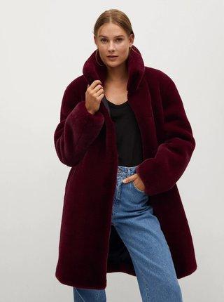 Vínový kabát z umělého kožíšku Mango Chillin