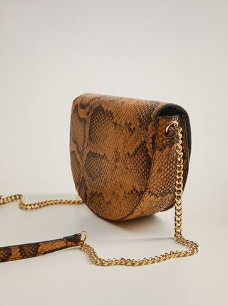 Hnedá crossbody kabelka s hadím vzorom Mango Caleo